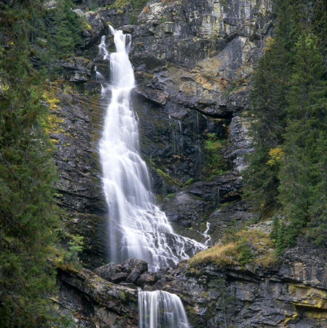 Ett av Sveriges högsta vattenfall, Fettjeåfallet.
