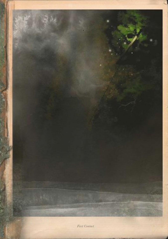 Bokomslag till First Contact, en mörk abstrakt målning.