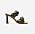 Sandaletter i mörkbrun skinnimitation, två flätade remmar över foten och hög klack. Sandaletter från Flattered.