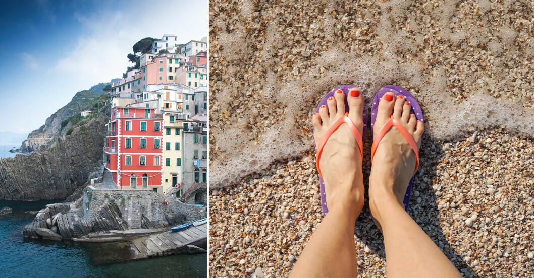 Flipflop som nu förbjuds i Cinque Terre, Italien.