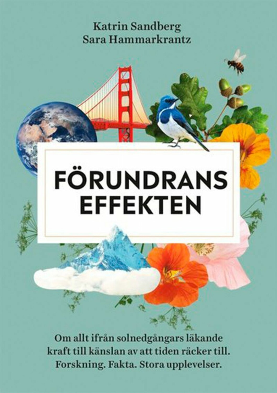 Bokomslag till Förundrans effekten, collage över blommor, berg och fåglar.