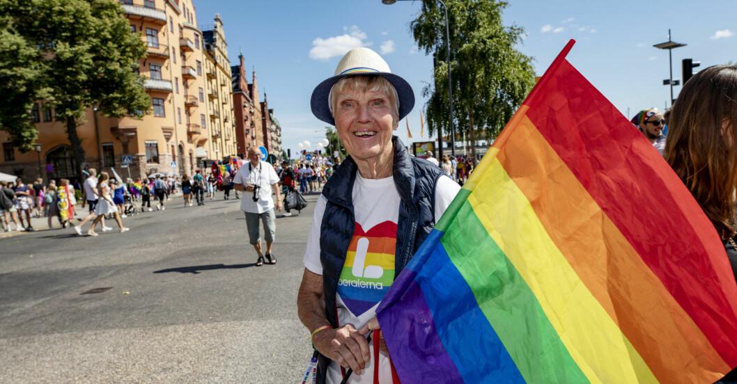 Barbro Westerholm i 2019 års Pridetåg
