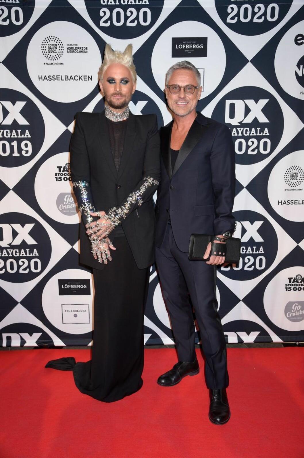 Fredrik Robertsson och Johan Hellstrand på röda mattan på QX-galan 2020