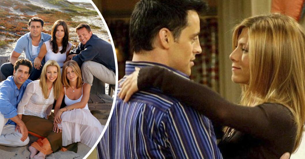 Rachel och Joey kramas