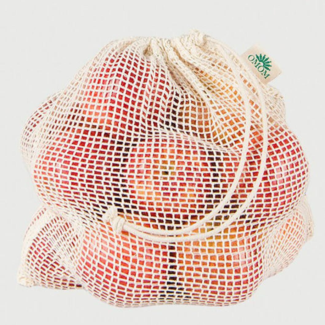 Fruktpåse i ekologisk bomull, ett bra alternativ till plastpåsen
