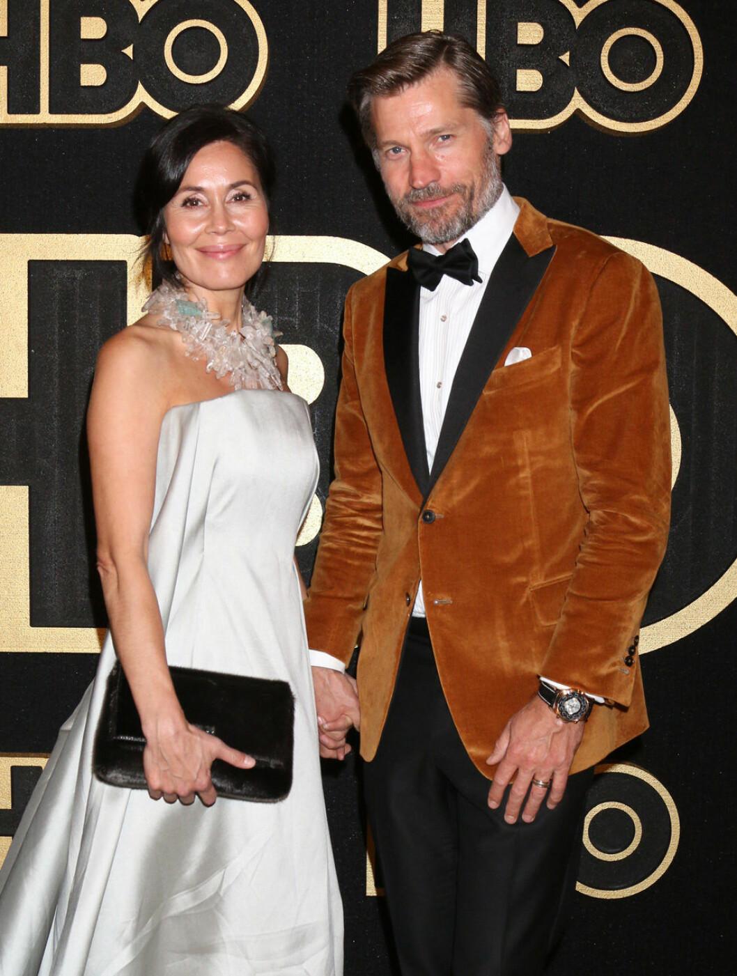 Nikolaj Coster-Waldau (Jamie Lannister i Game of Thrones) tillsammans med sin fru Nukaaka Coster Waldau på Emmy-galan 2018.