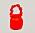 Liten knallröd handväska i påsmodell med skrynkligt handtag i samma material som väskan. Handväska från Ganni.