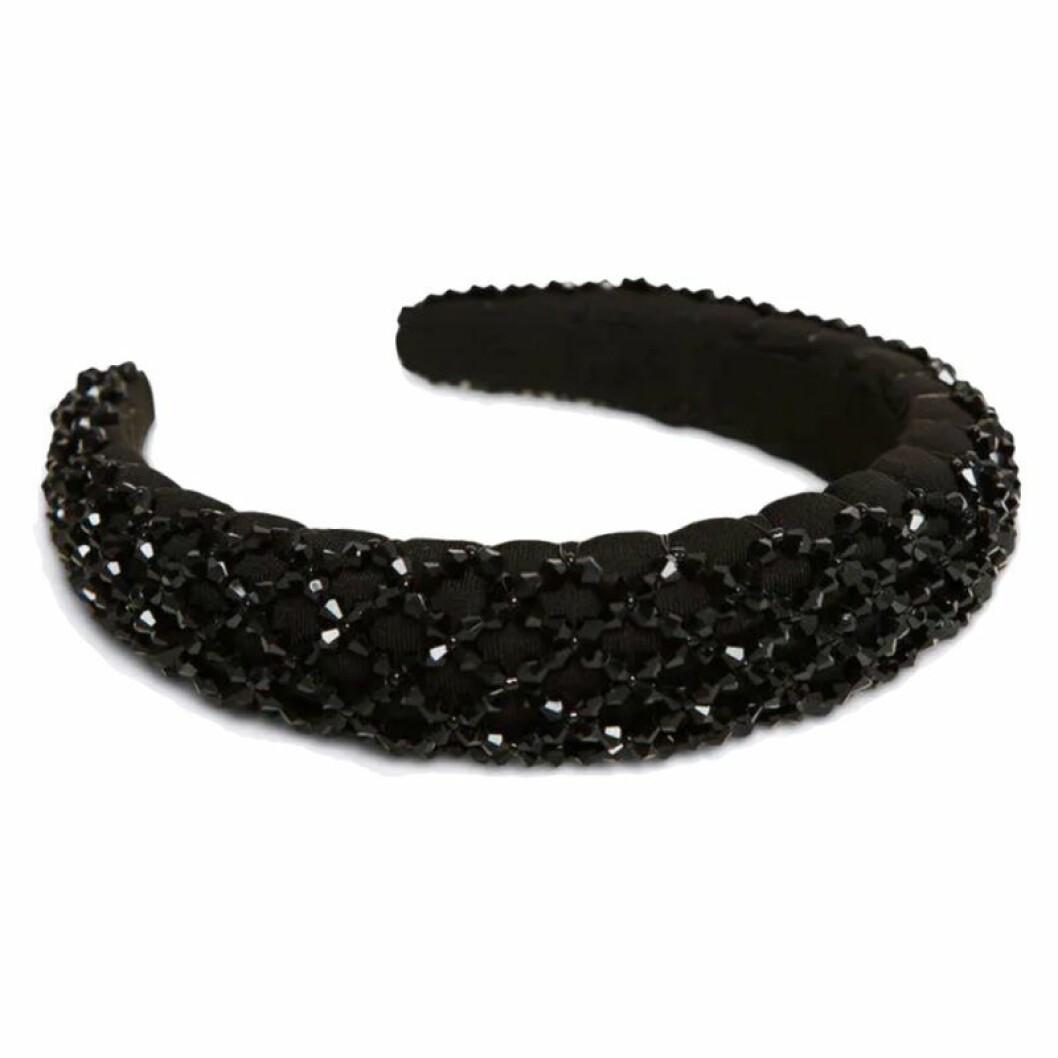 Svart glittrigt hårband