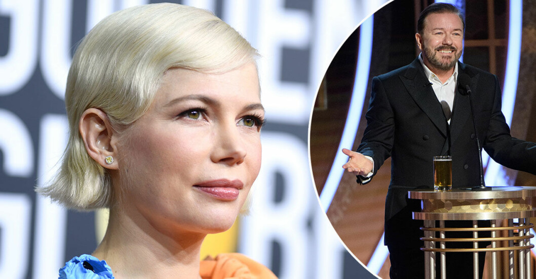 Michelle Williams och Ricky Gervais på Golden Globe-galan 2020
