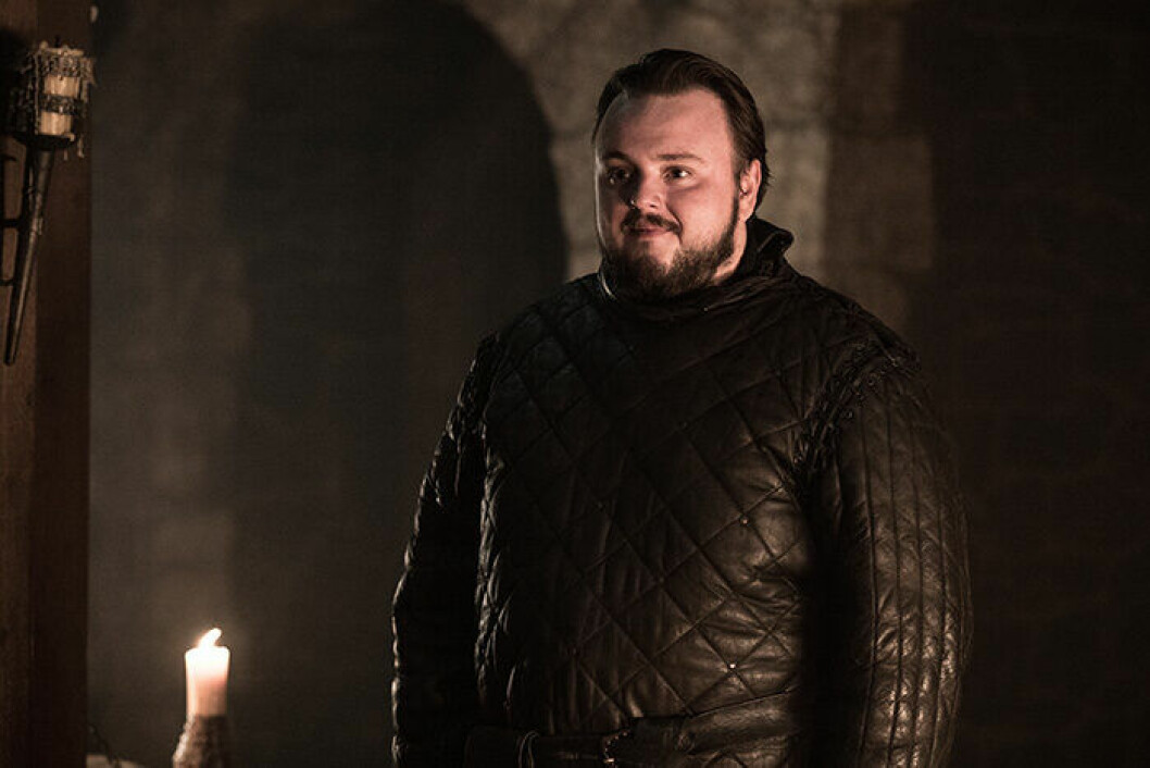 En bild på karaktären Samwell Tarly från tv-serien Game of Thrones.