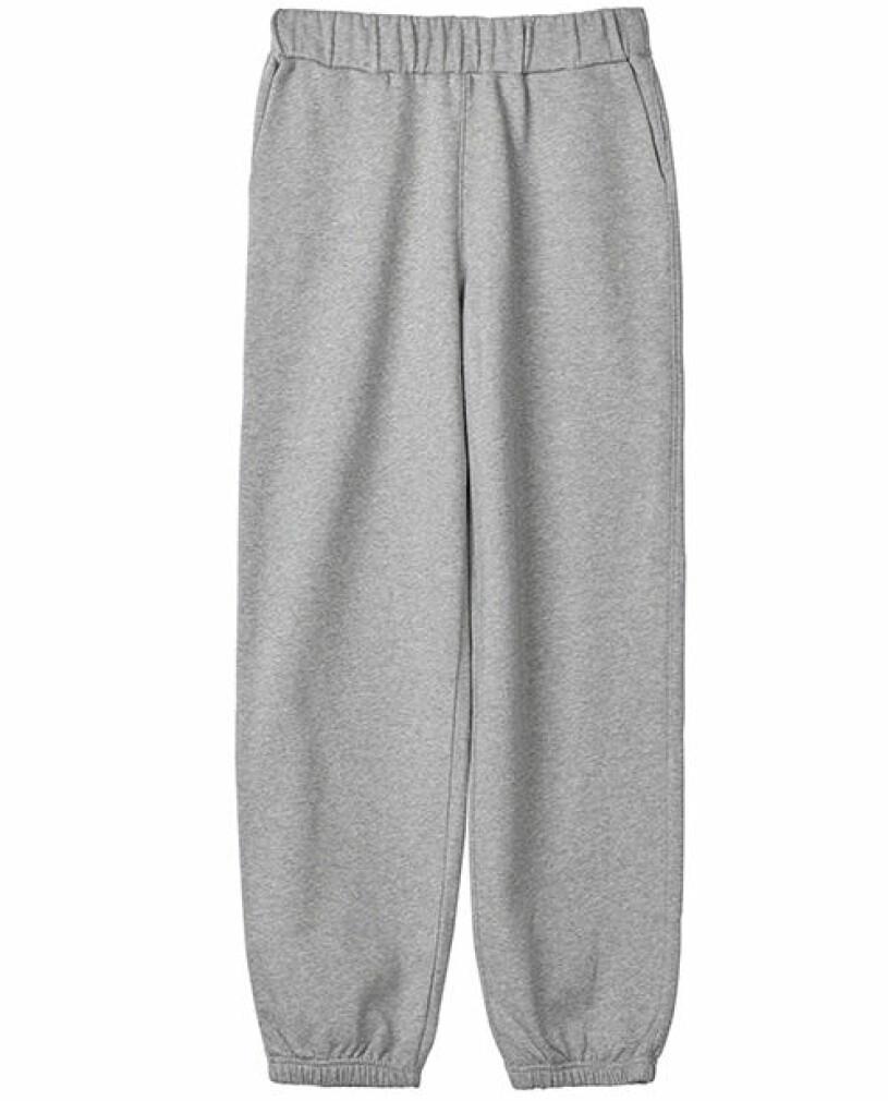 grå långa mjukisbyxor stylein