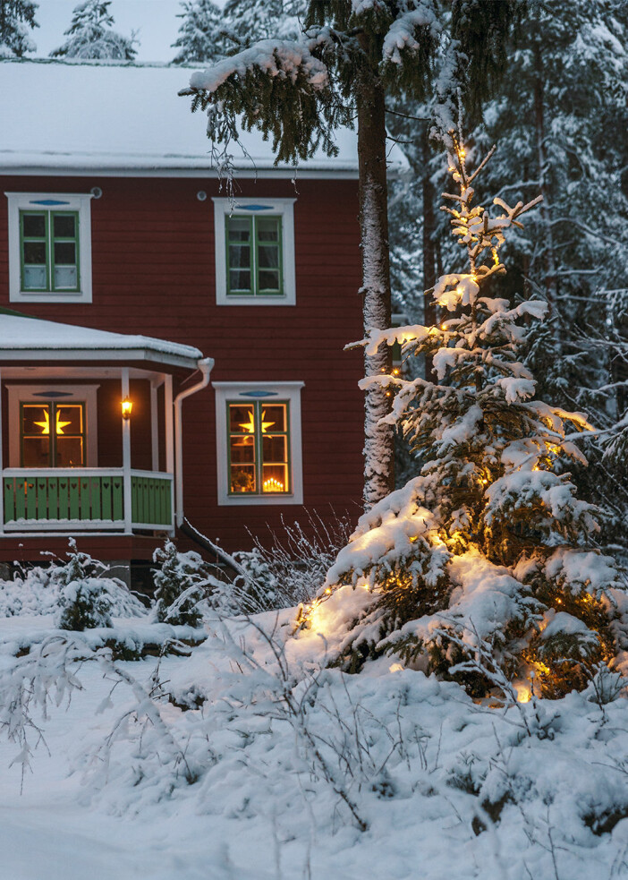 juldekorationer i trädgård med mycket snö