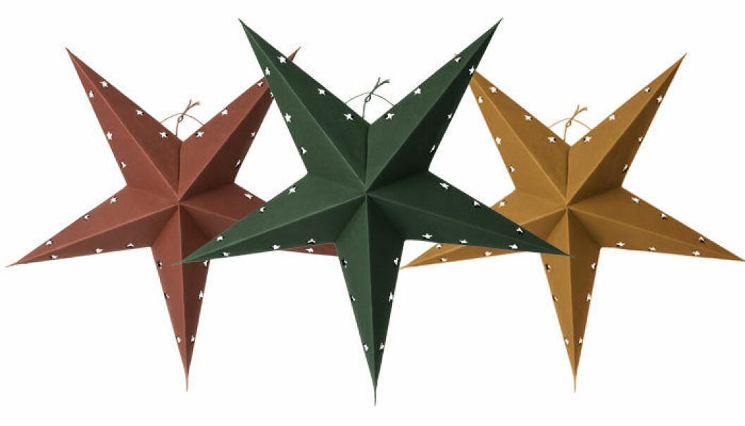 julstjärna i rött, grönt och gult från Granit