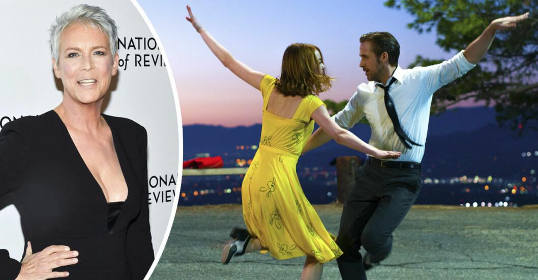 Jamie Lee Curtis och Emma Stone och Ryan Gosling