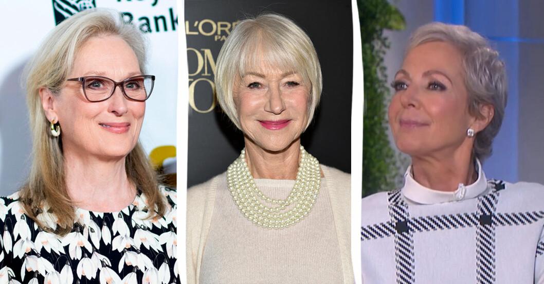 Meryl Streep, Helen Mirren, Allison Janney i grått hår.