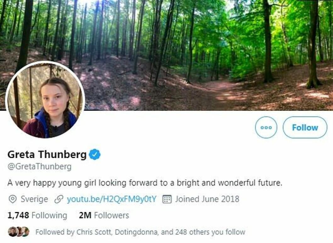 Greta Thunberg ändrar presentation på Twitter