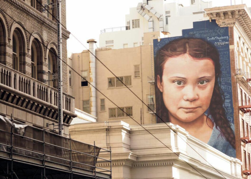 Greta Thunberg som muralmålning i San Fransisco.