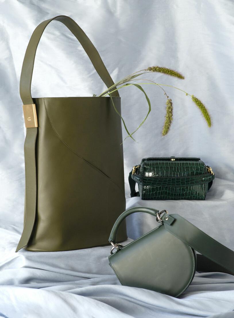 Gröna väskor från Atp atelier, Beck & Søndergaard och Marimekko aw 20.