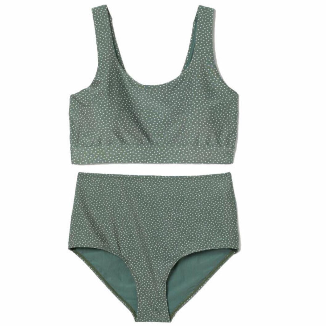 Grönvitprickig bikini från H&M