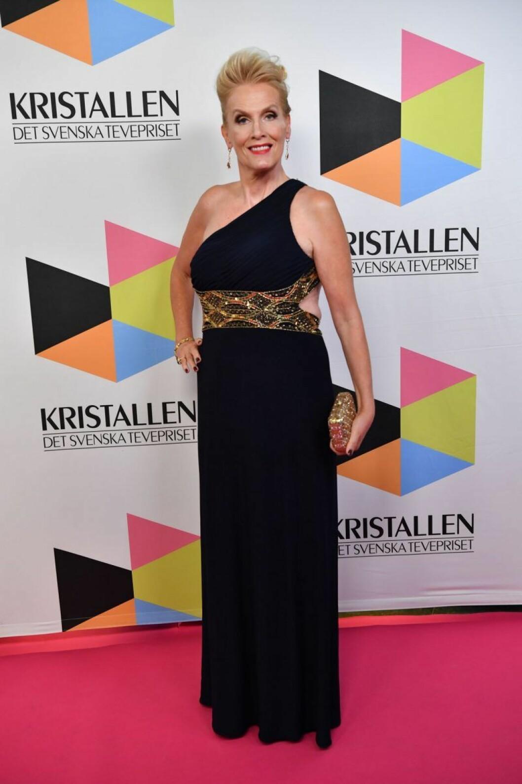 Gunilla Persson på röda mattan på Kristallen 2019