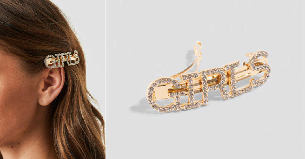 Glittrigt hårspänne med text från Na-kd