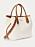 Vit väska med bruna skinndetaljer och axelremmar. Väska från Polo Ralph Lauren.