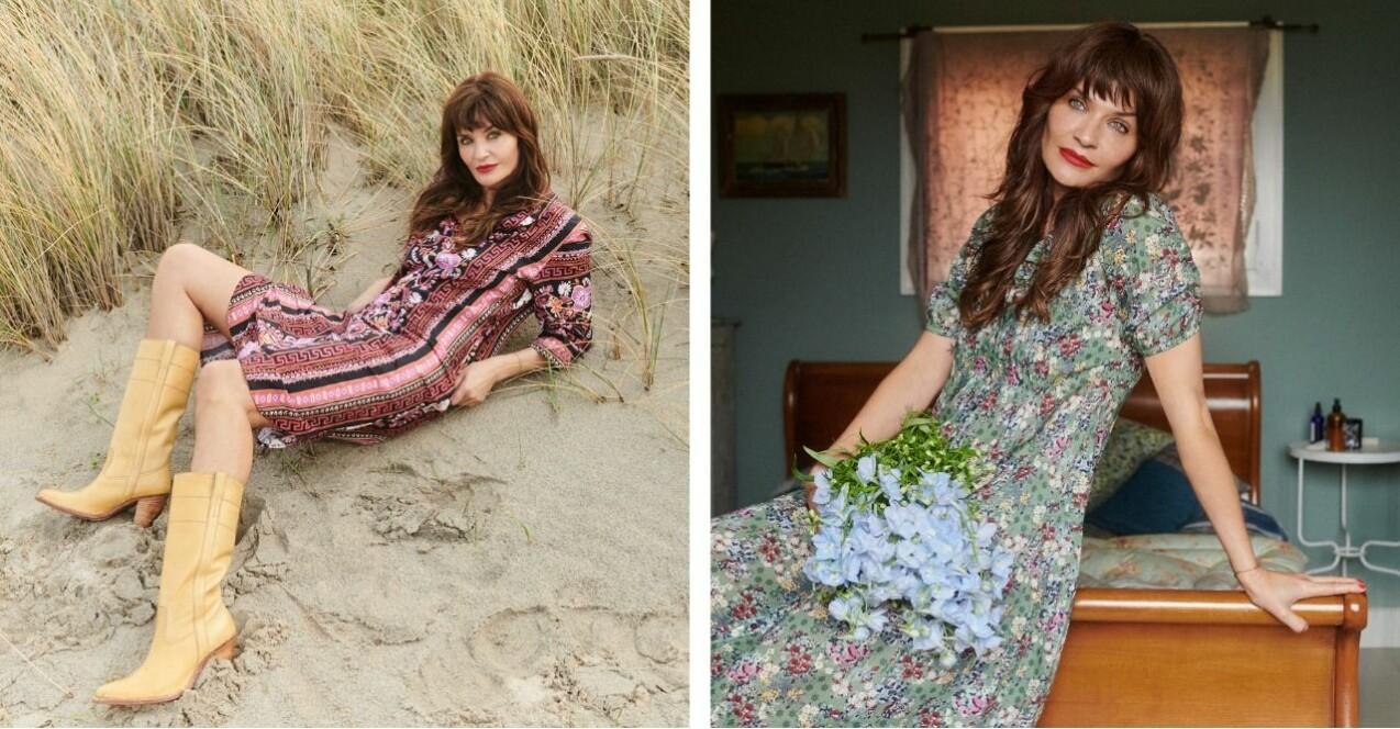 Helena Christensen för Odd Molly. Till vänster: Helena fotograferad liggandes i sanden på en strand med vass i bakgrunden. Hon har en kort klänning med långa ärmar. Klänningen är mönstrad i röda och rosa mönster. Till klänningen bär hon gulbruna boots som slutar under knät. Till höger: Helena fotograferad sittandes på ett skrivbord i trä. Hon bär grön klänning med blommönster i olika färger och har en bukett med ljusblå blommor i knät.