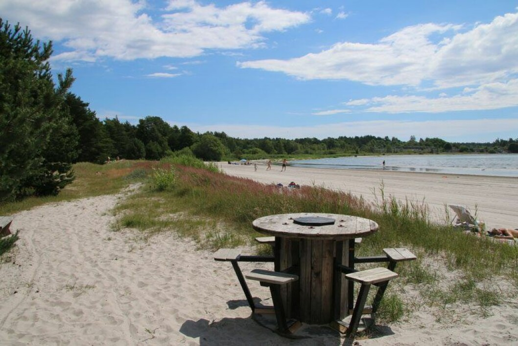 Stranden Hideviken på Gotland.
