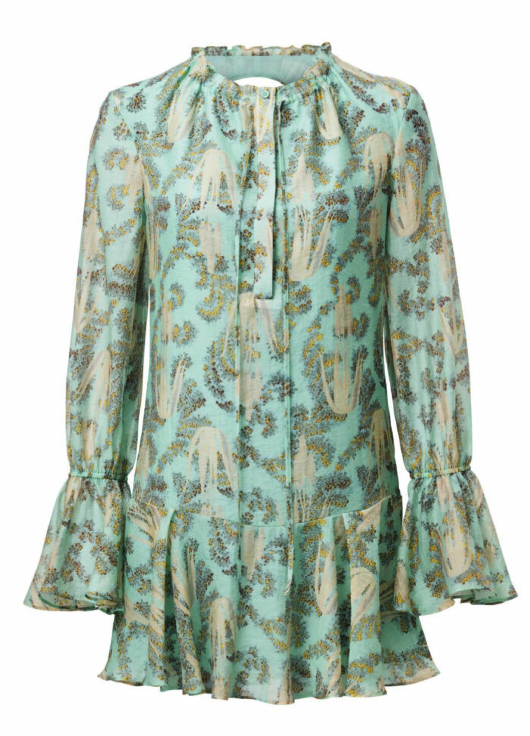 H&M Conscious Exclusive 2019 blågrön mönstrad klänning