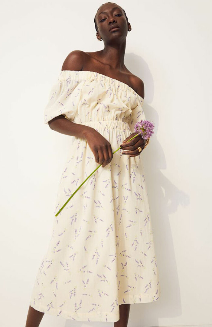 gul blommig off shoulder-klänning