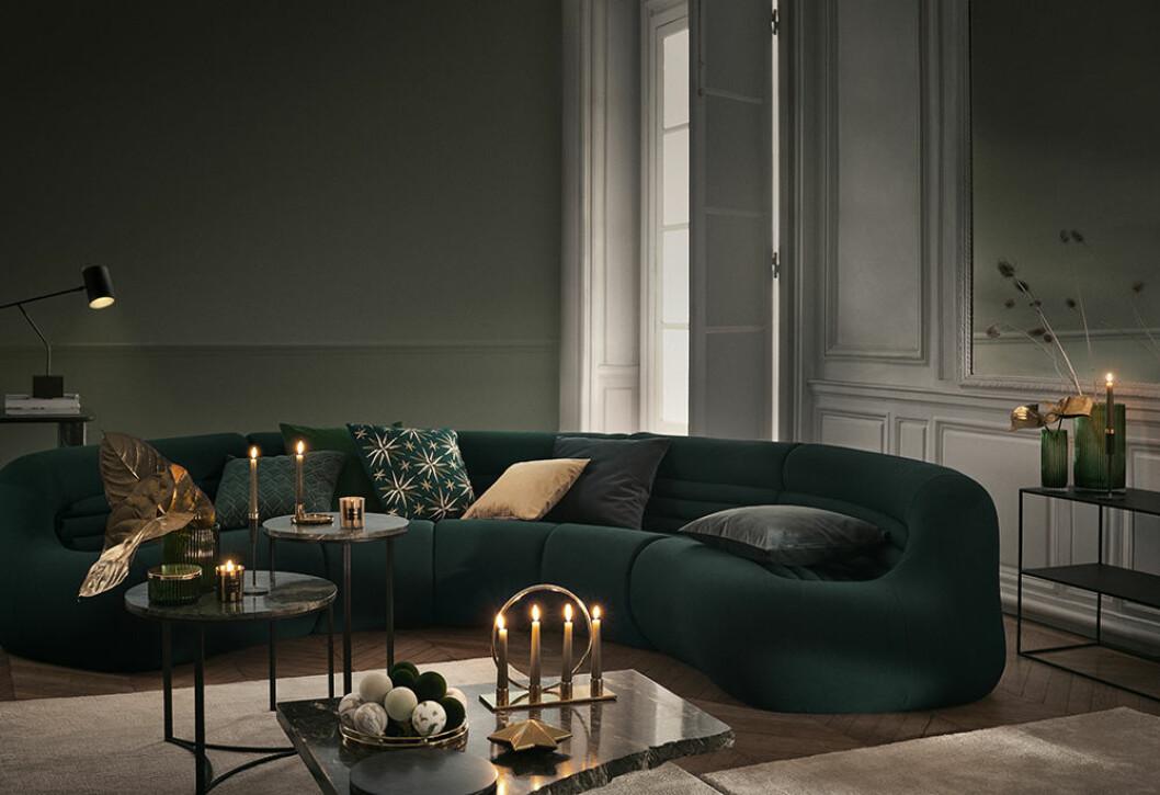 Stämningsfullt och djupgrönt hos H&M Home i jul