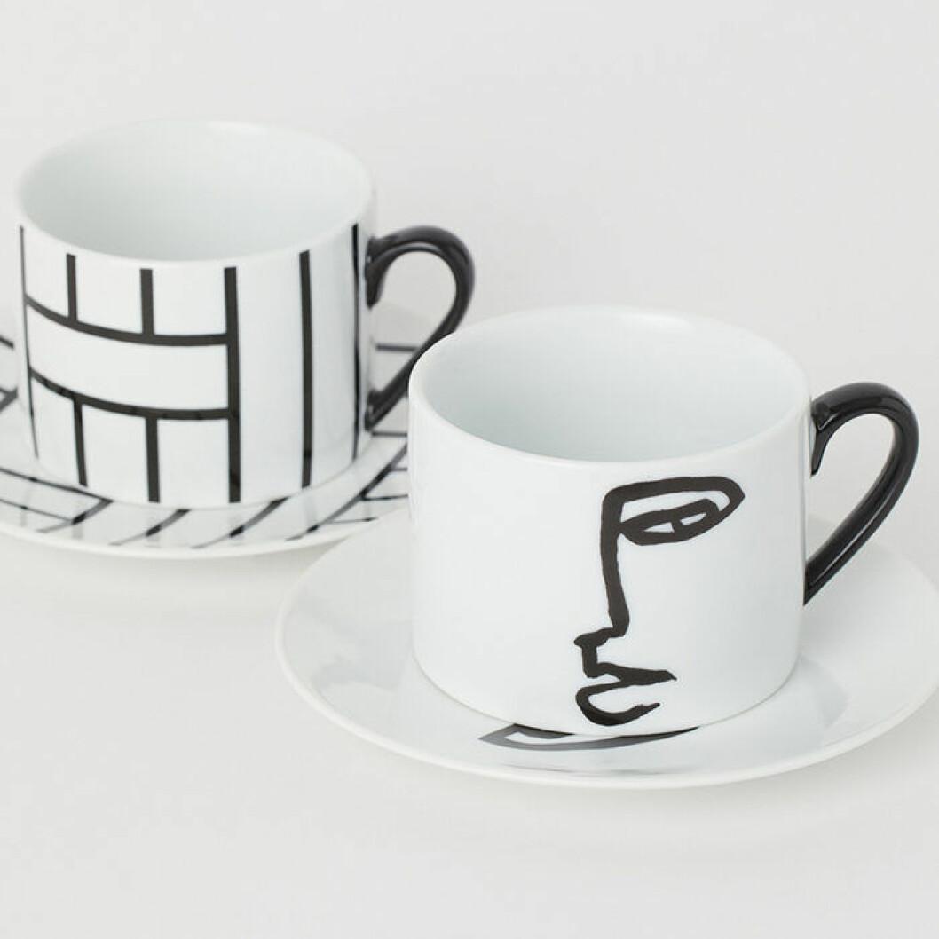 grafiska muggar i porslin från H&M Home