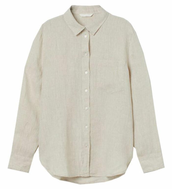 beige linneskjorta dam från hm