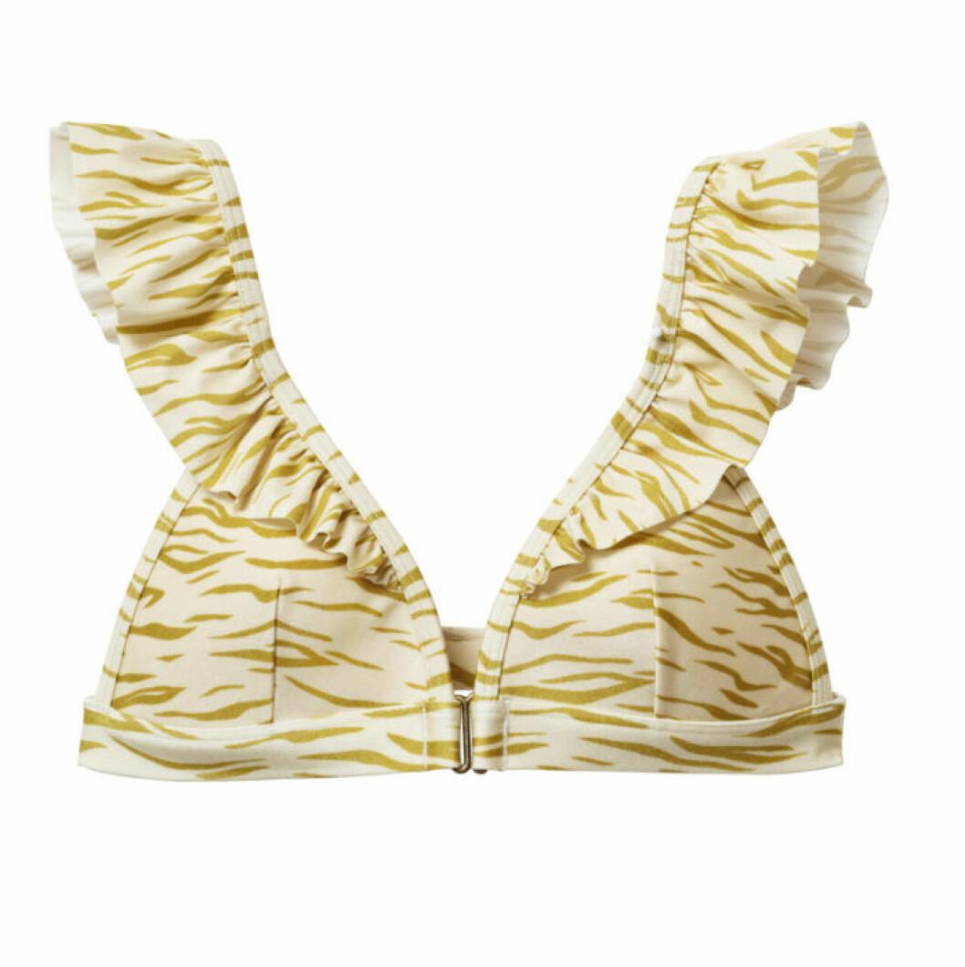 H&M släpper badkollektion med Love Stories – gul bikiniöverdel med zebraränder