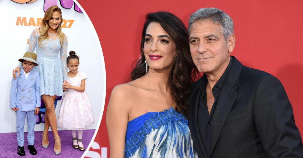 jennifer lopez med sina tvillingar, George och Amal Clooney