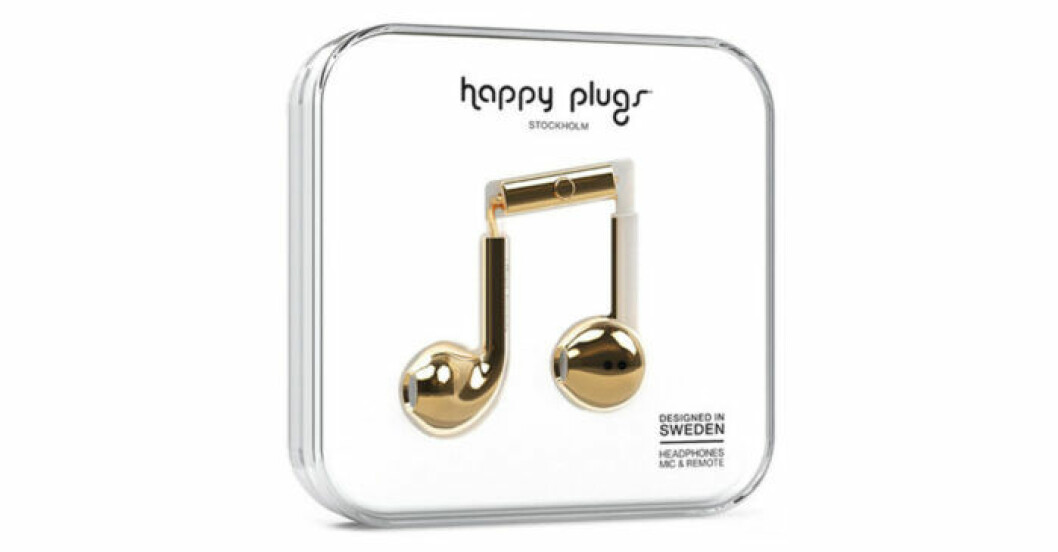 Guldiga hörlurar från Happy Plugs/Åhlens