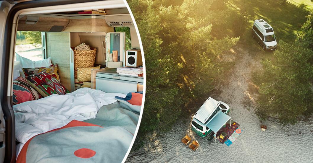 Camping vid stranden och interiör