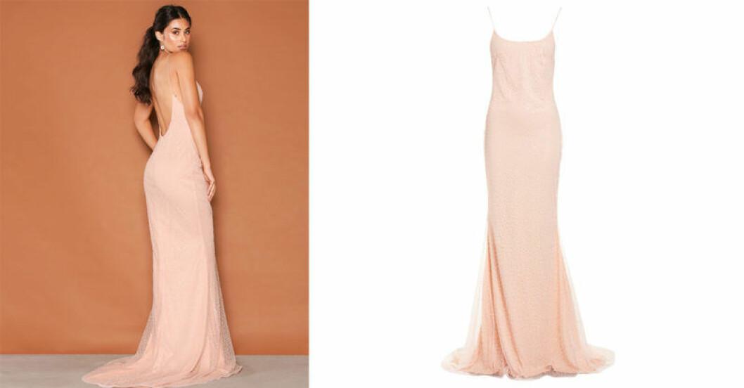 Längklänning i ljusrosa, modell Corali