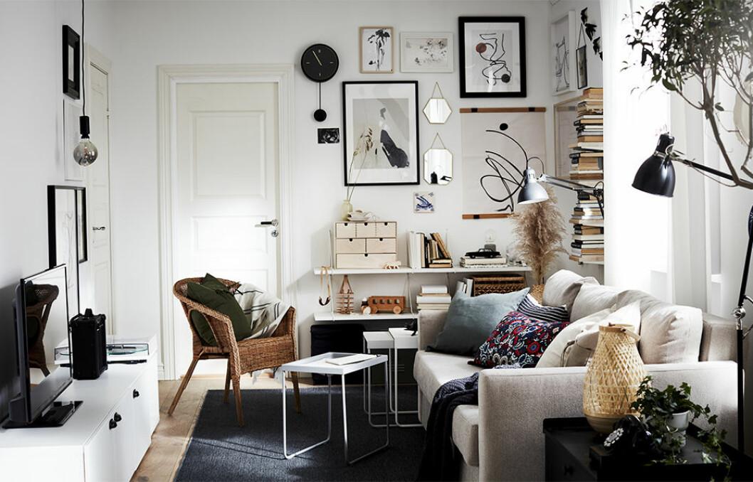 Compact living-inredning till vardagsrum från ikea katalog 2021