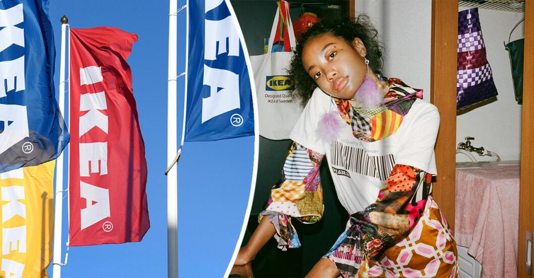 Ikeaflaggor och tjej i tröja från Eftertänksam