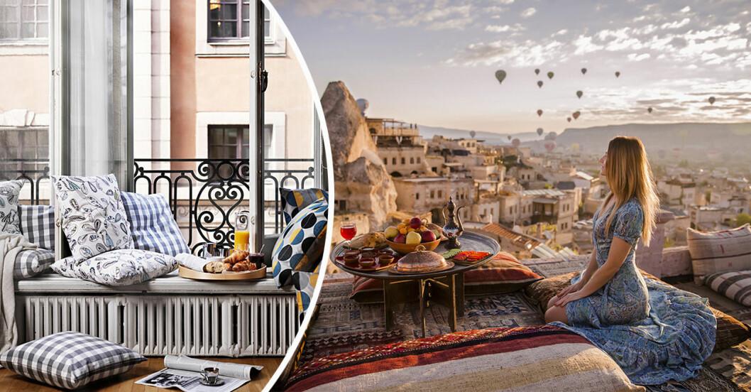 parisisk balkong och utsikt över Cappadocia.