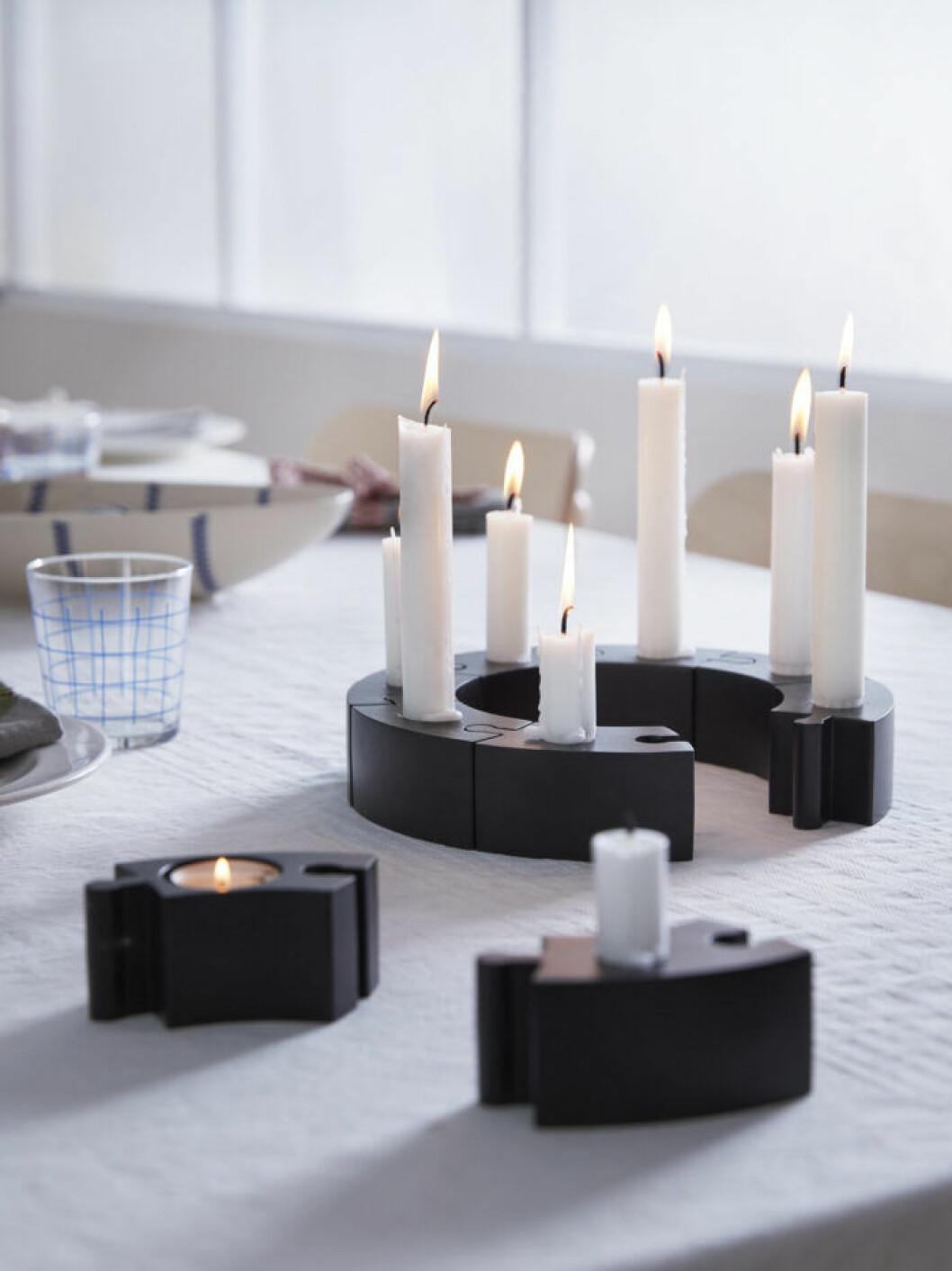 Ljusstake med flera pusselbitar från Ikea julen 2019