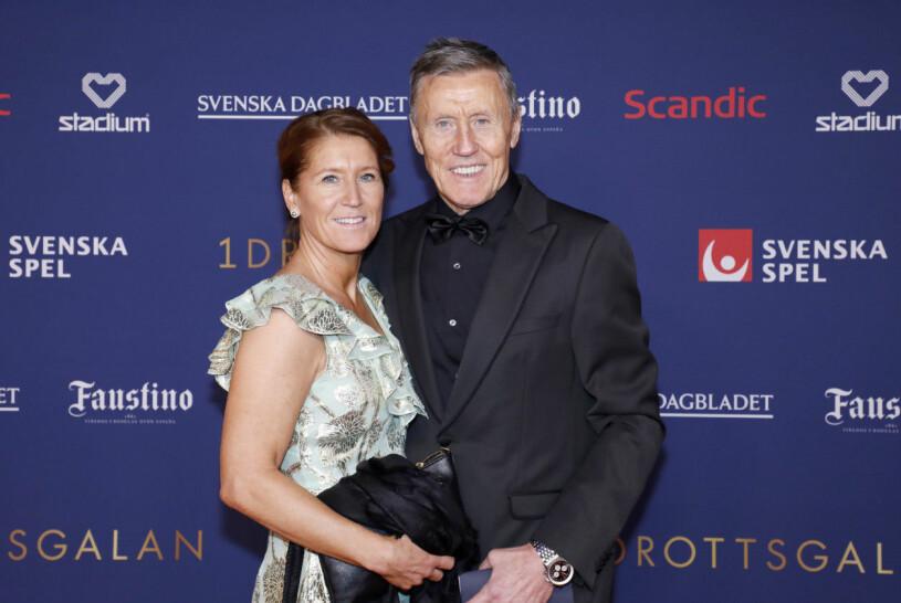 Pia Salming tillsammans med maken Börje Samling på Idrottsgalan 2020