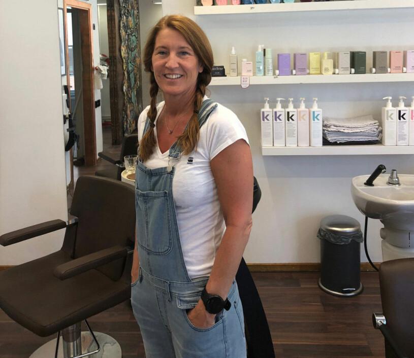 Pia Salming när hon jobbade som frisör
