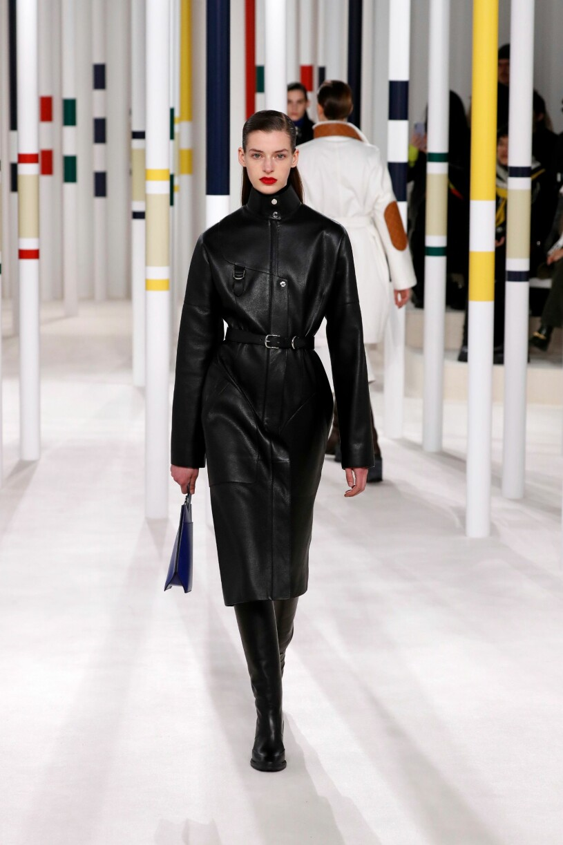 Hermès aw fall collection black leather coat