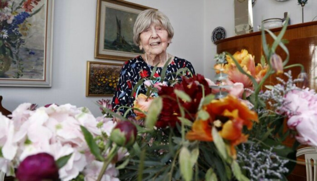 Dagny Carlsson på sin 106-årsdag 2018.