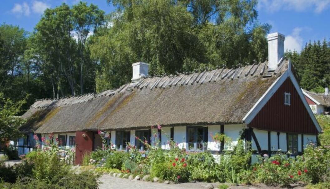 Ålderdomlig bymiljö med korsvirkeshus i närheten av Christinehofs slott. Foto: Staffan Andersson/ TT