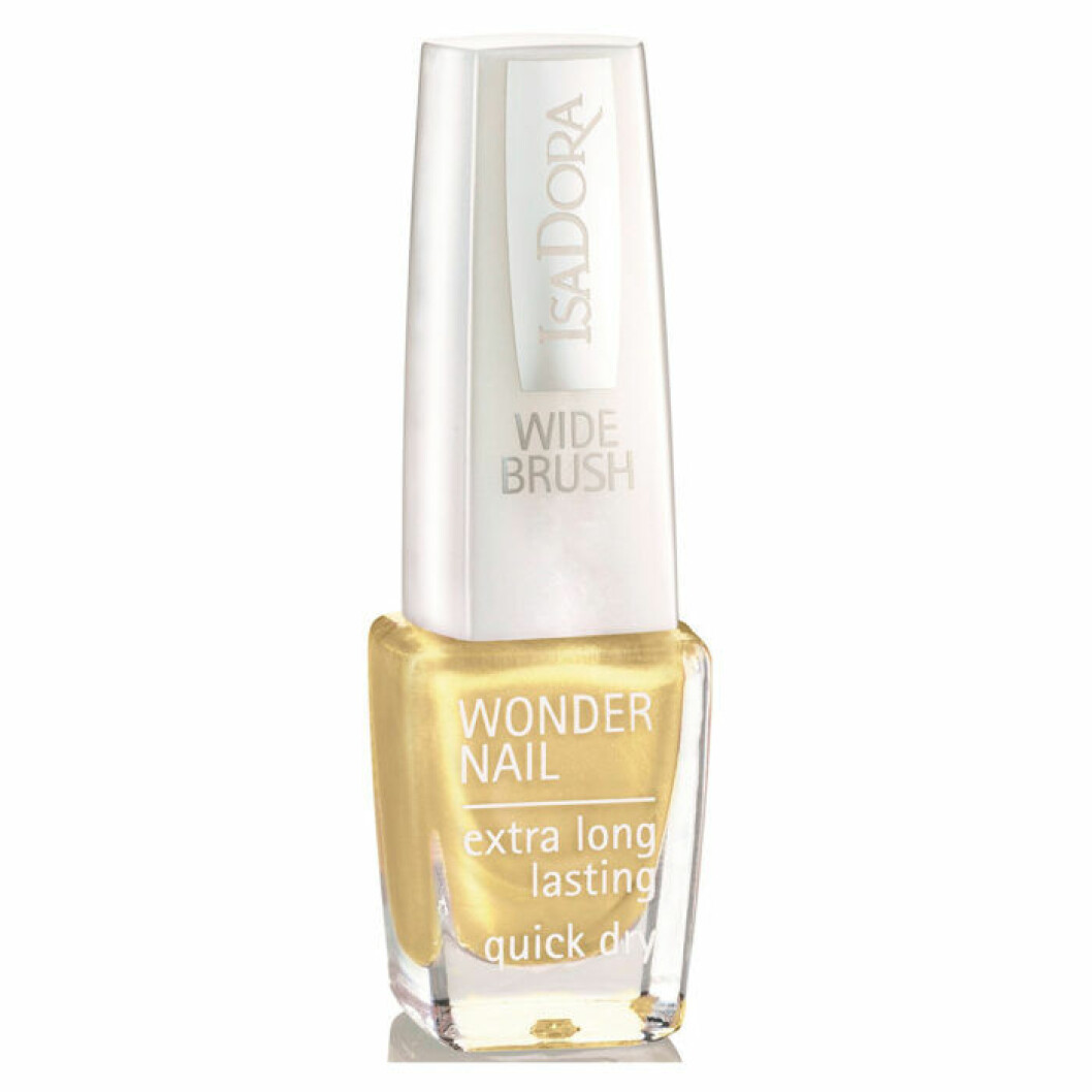 Glittrigt gult nagellack