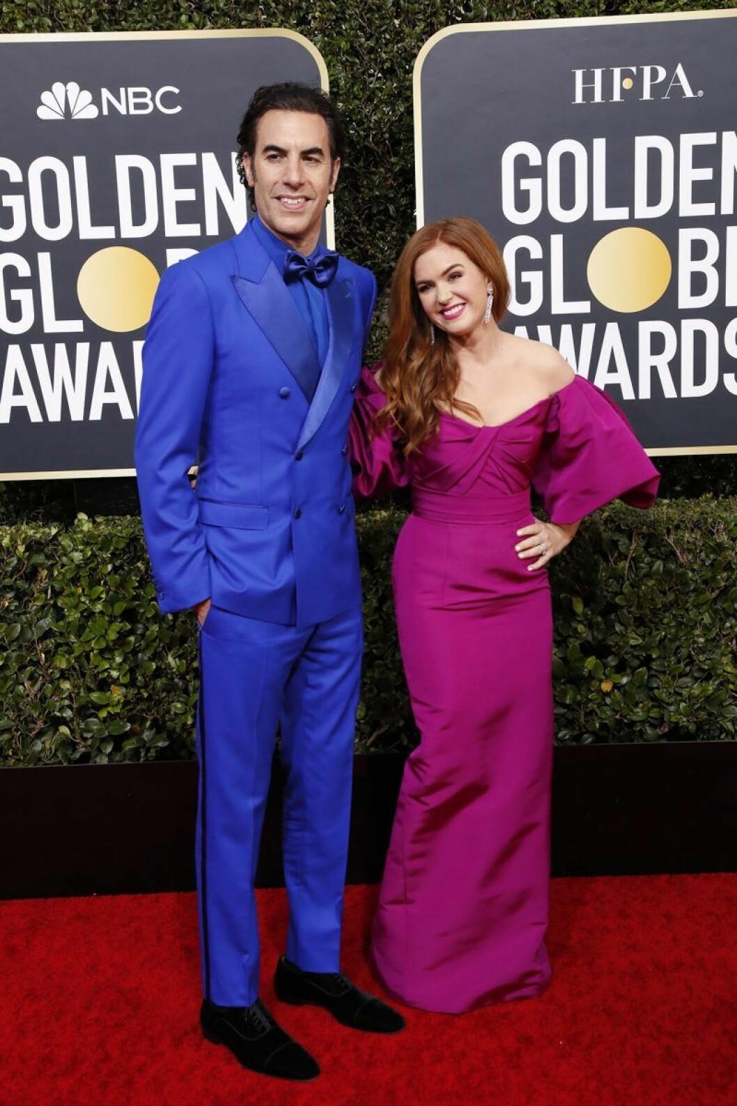 Sacha Baron Cohen och Isla Fisher på Golden Globes