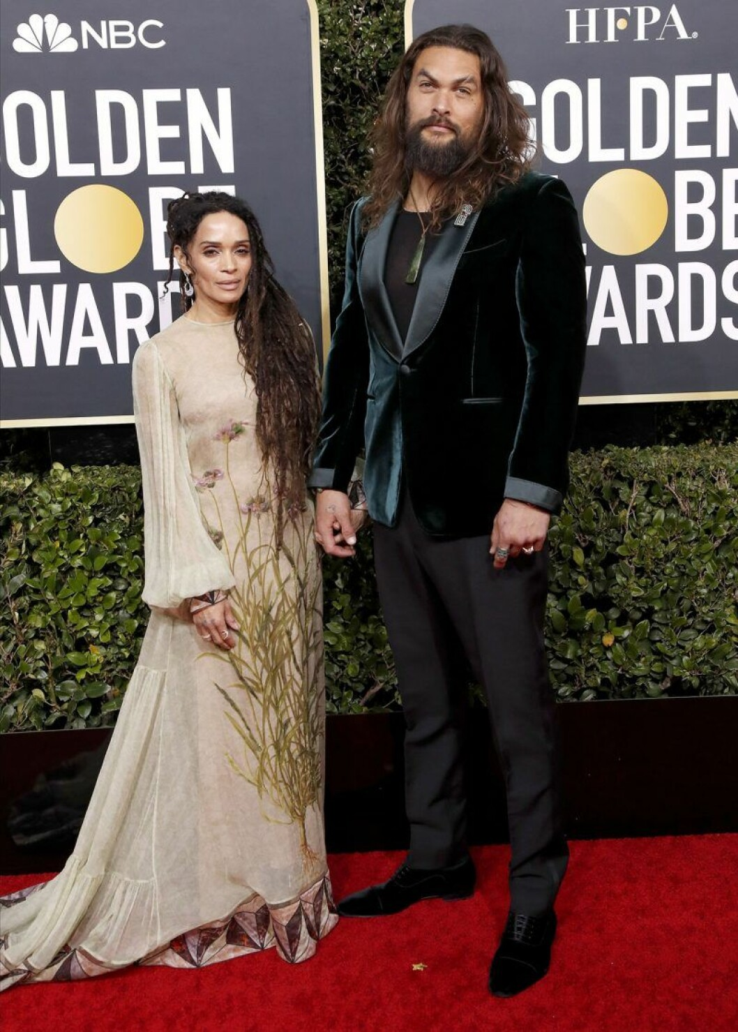 Jason Momoa och Lisa Bonet på Golden Globes.